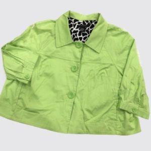 Sandro Women Cropped Swing Blazer Jacket Green 2X